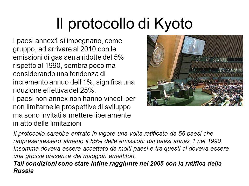 Il protocollo di Kyoto Gli impegni di Rio non parlavano volutamente dei tempi di realizzazione delle riduzioni.