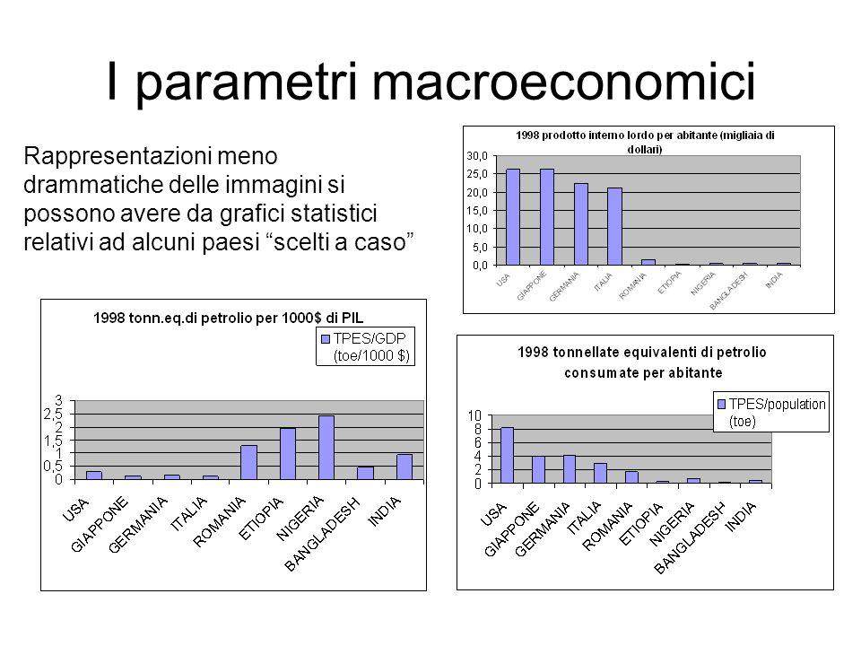 I parametri macroeconomici Altri indicatori utili potrebbero essere: Reddito pro capite (rapporto prodotto interno lordo/popolazione) Quantità di energia consumata per unità di reddito (rapporto tpes/pil) Tipologia delle fonti di energia (CO 2 / tpes)