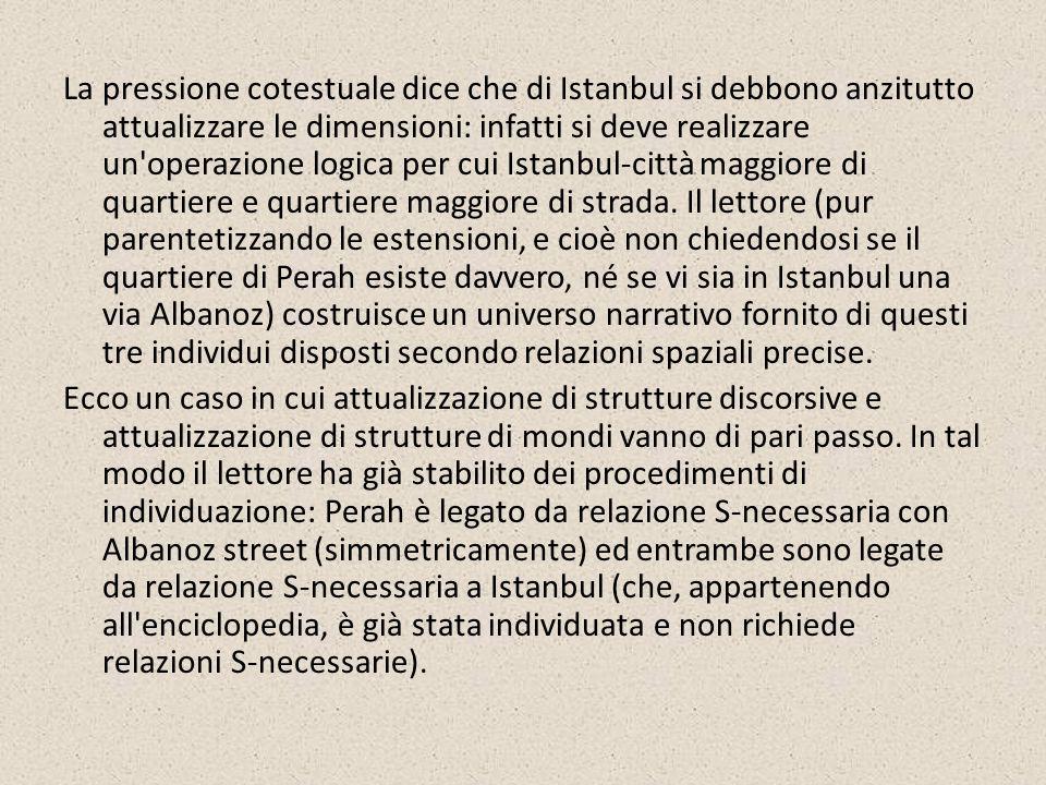 La pressione cotestuale dice che di Istanbul si debbono anzitutto attualizzare le dimensioni: infatti si deve realizzare un'operazione logica per cui