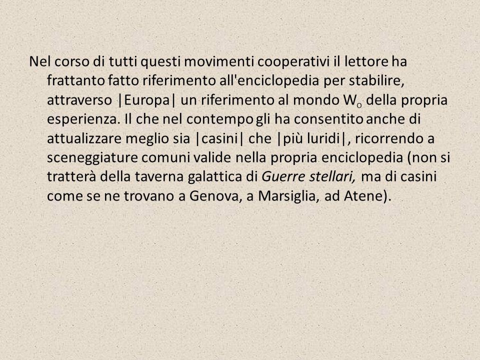 Si noti che arrivato a 6 il lettore è in grado, grazie alla data 1952, di prendere decisioni sulla natura della enciclopedia cui fare ricorso (per esempio: a quell epoca il narratore poteva ancora frequentare legalmente i casini di Genova).