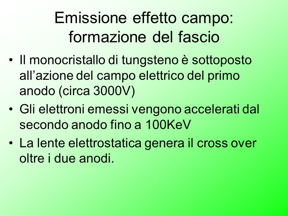 Emissione effetto campo: formazione del fascio Il monocristallo di tungsteno è sottoposto allazione del campo elettrico del primo anodo (circa 3000V)