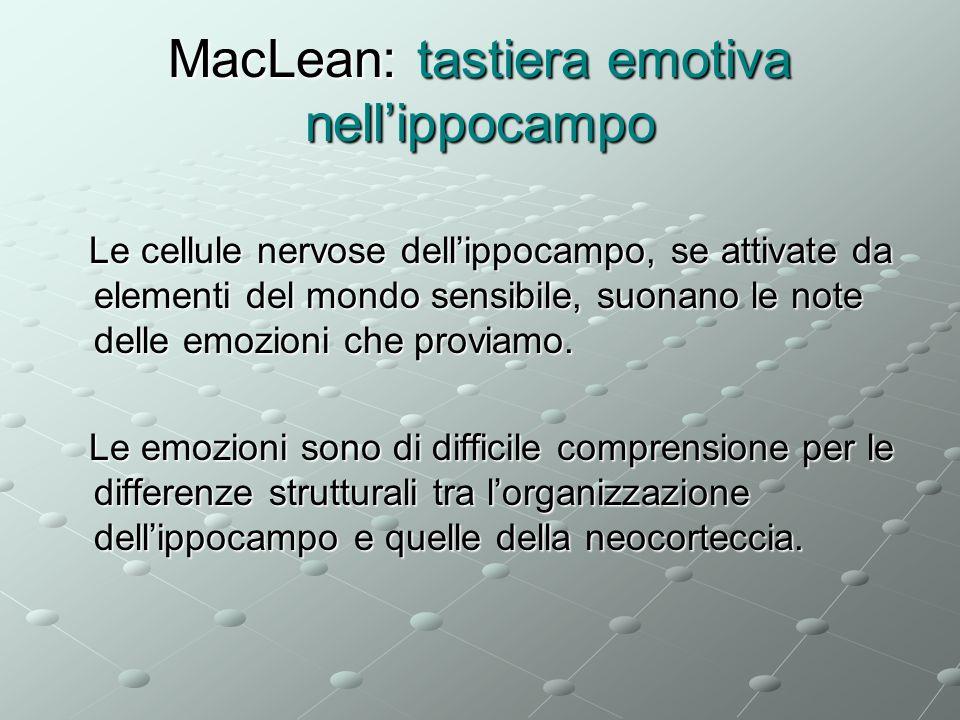 MacLean: tastiera emotiva nellippocampo Le cellule nervose dellippocampo, se attivate da elementi del mondo sensibile, suonano le note delle emozioni