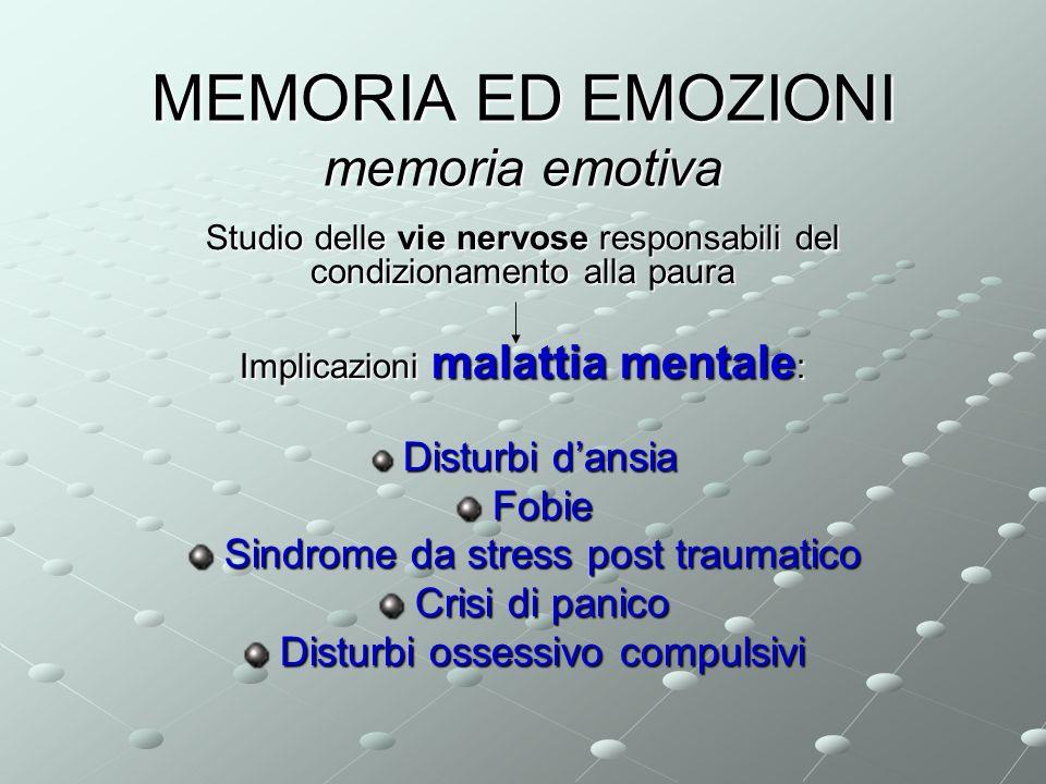 MEMORIA ED EMOZIONI memoria emotiva Studio delle vie nervose responsabili del condizionamento alla paura Implicazioni malattia mentale : Disturbi dans