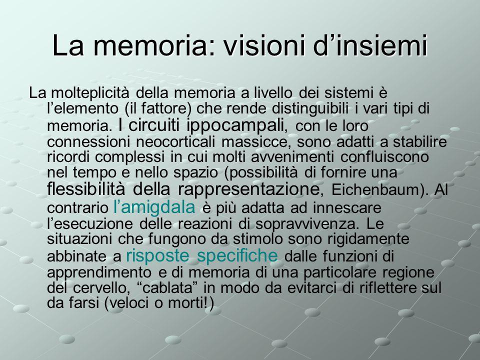 La memoria: visioni dinsiemi La molteplicità della memoria a livello dei sistemi è lelemento (il fattore) che rende distinguibili i vari tipi di memor