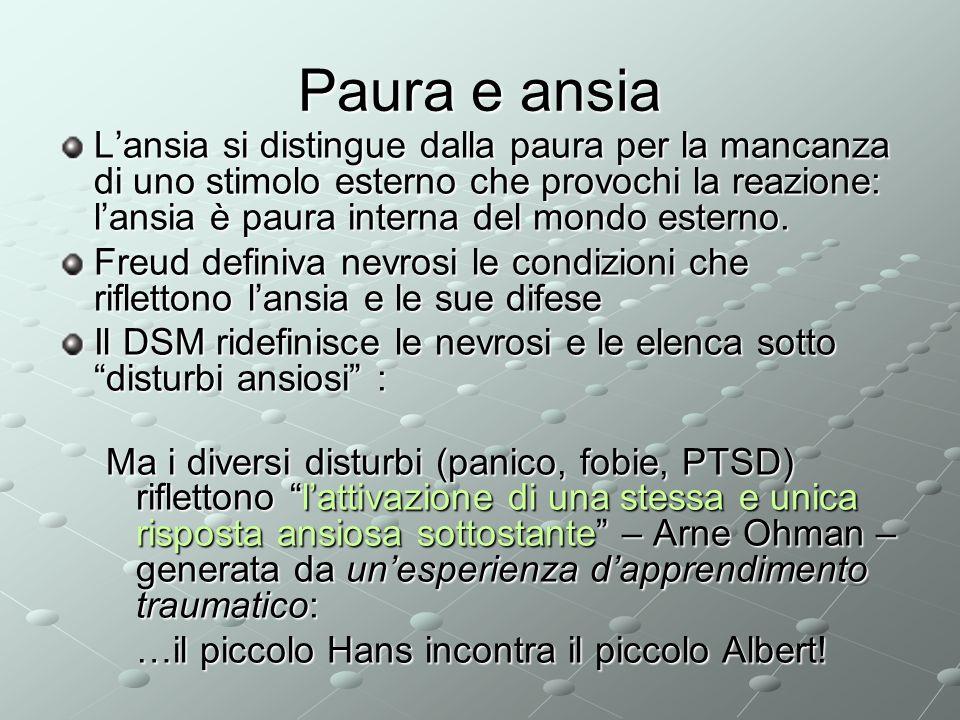 Paura e ansia Lansia si distingue dalla paura per la mancanza di uno stimolo esterno che provochi la reazione: lansia è paura interna del mondo estern
