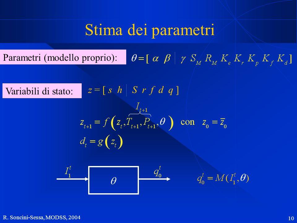 R. Soncini-Sessa, MODSS, 2004 10 Stima dei parametri Parametri (modello proprio): Variabili di stato: z = [ s h S r f d q ]