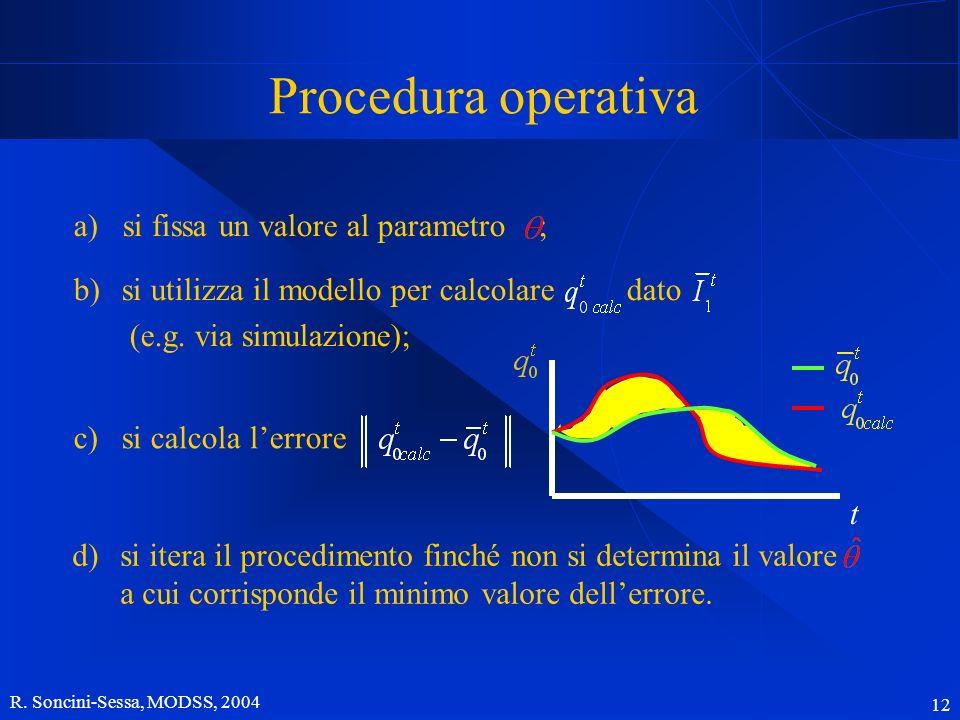 R. Soncini-Sessa, MODSS, 2004 12 Procedura operativa a) si fissa un valore al parametro ; c)si calcola lerrore b)si utilizza il modello per calcolare
