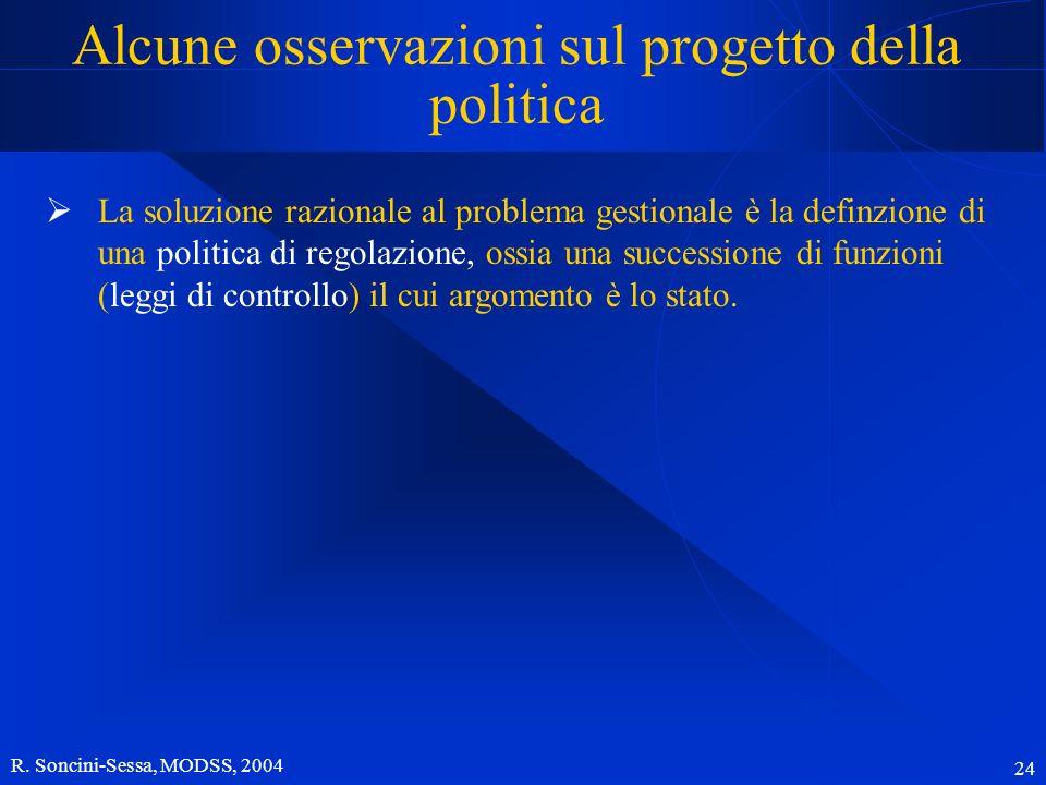 R. Soncini-Sessa, MODSS, 2004 24 Alcune osservazioni sul progetto della politica La soluzione razionale al problema gestionale è la definzione di una