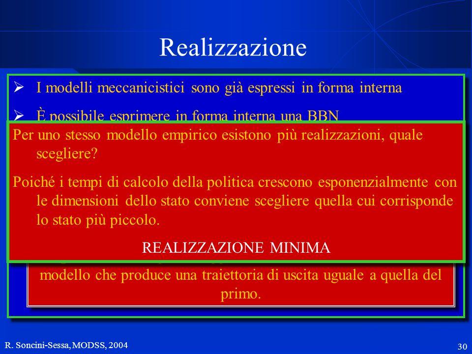 R. Soncini-Sessa, MODSS, 2004 30 Realizzazione La soluzione razionale al problema gestionale è la definzione di una politica di regolazione, ossia una