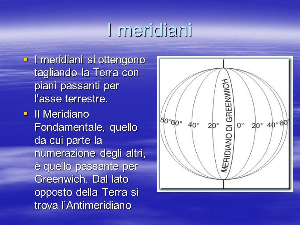 I meridiani I meridiani si ottengono tagliando la Terra con piani passanti per lasse terrestre. I meridiani si ottengono tagliando la Terra con piani