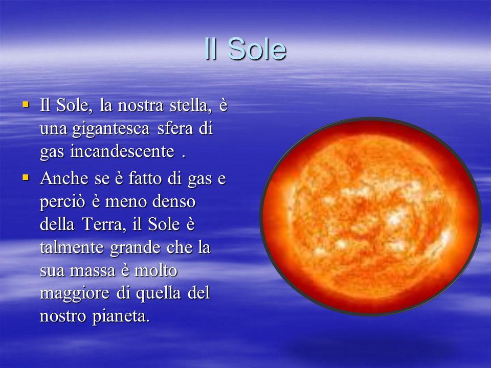 Il Sole Il Sole, la nostra stella, è una gigantesca sfera di gas incandescente. Il Sole, la nostra stella, è una gigantesca sfera di gas incandescente