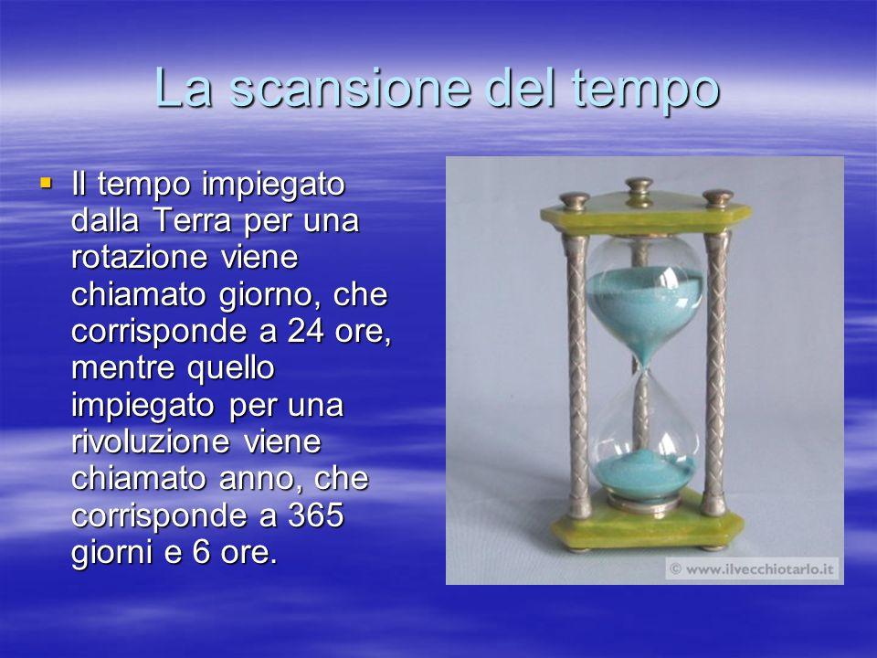 La scansione del tempo Il tempo impiegato dalla Terra per una rotazione viene chiamato giorno, che corrisponde a 24 ore, mentre quello impiegato per u