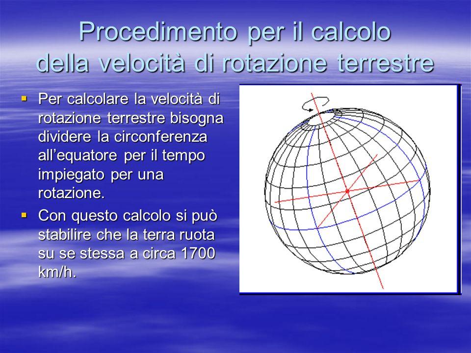 Procedimento per il calcolo della velocità di rotazione terrestre Per calcolare la velocità di rotazione terrestre bisogna dividere la circonferenza a