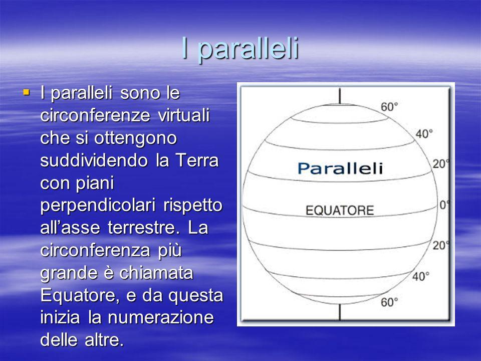 I paralleli I paralleli sono le circonferenze virtuali che si ottengono suddividendo la Terra con piani perpendicolari rispetto allasse terrestre. La