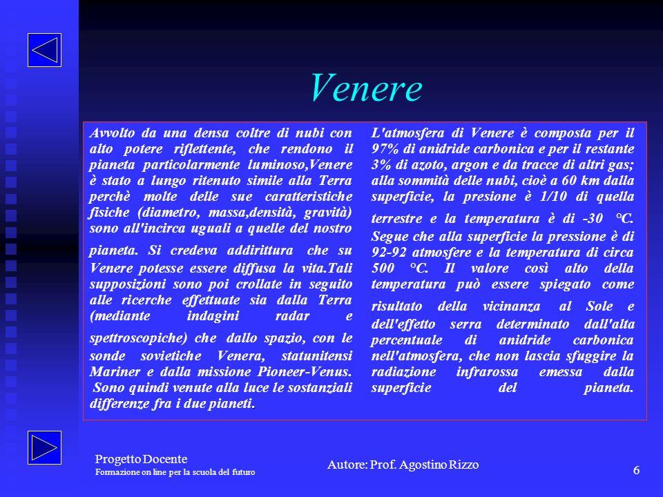 Autore: Prof.Agostino Rizzo Progetto Docente Formazione on line per la scuola del futuro 6 Venere.