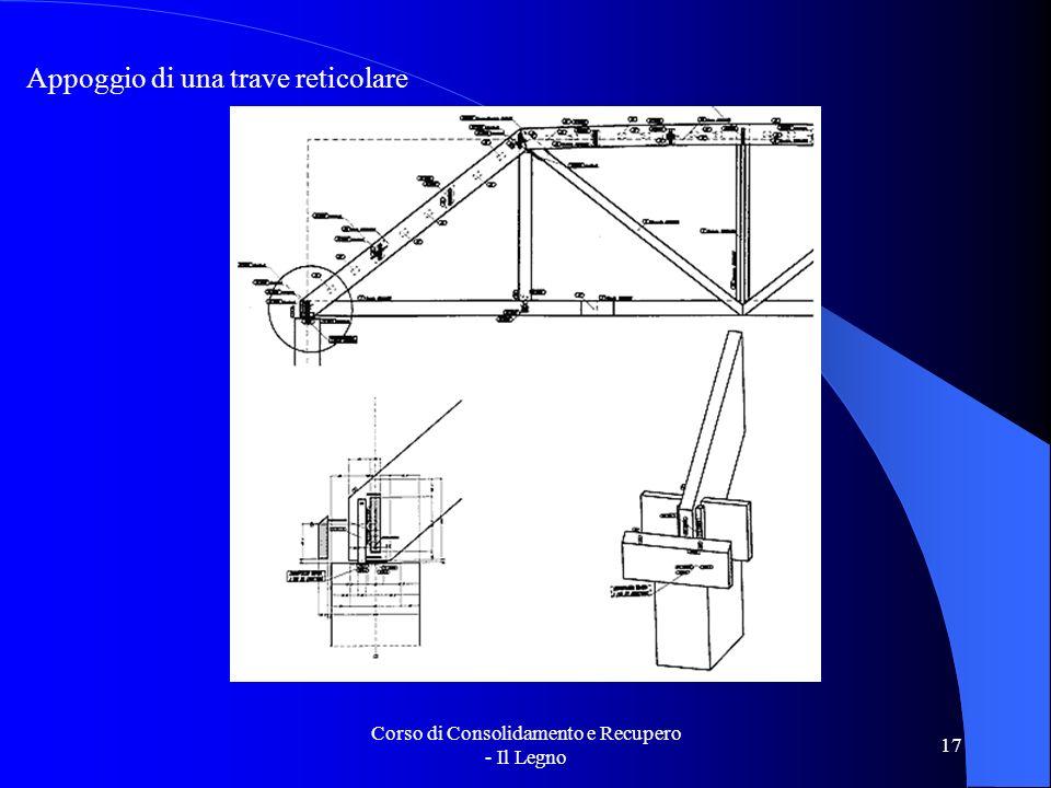 Corso di Consolidamento e Recupero - Il Legno 17 Appoggio di una trave reticolare