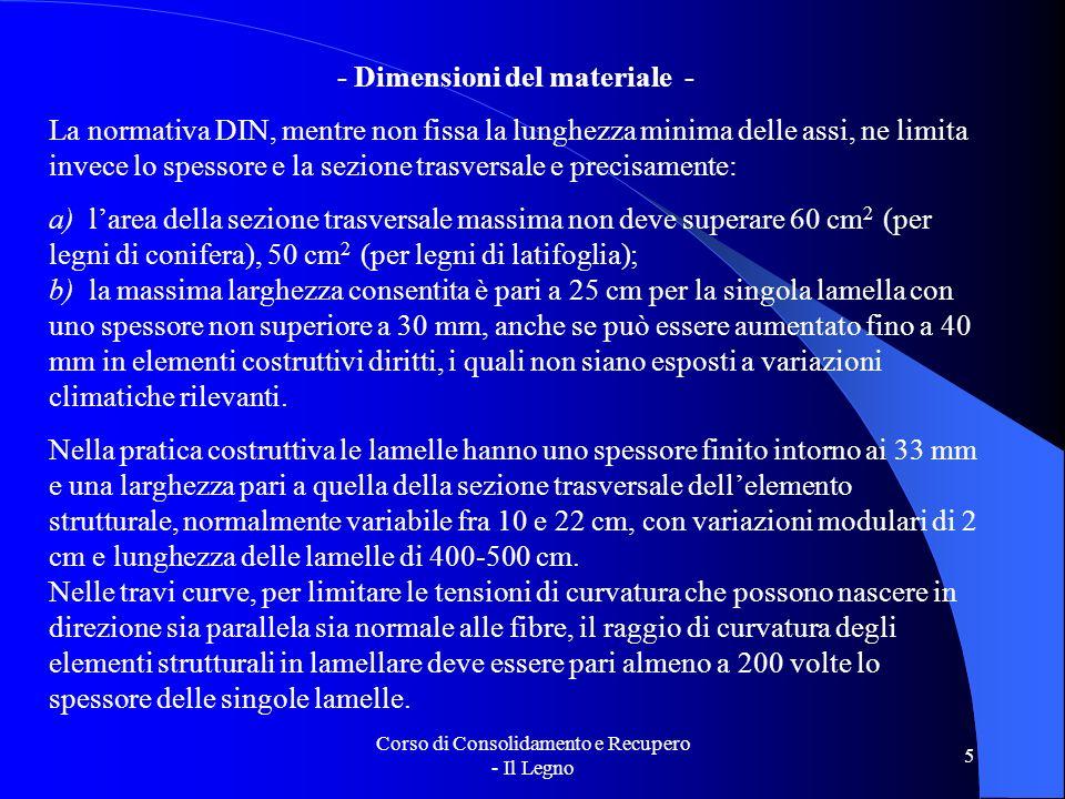 Corso di Consolidamento e Recupero - Il Legno 5 - Dimensioni del materiale - La normativa DIN, mentre non fissa la lunghezza minima delle assi, ne lim