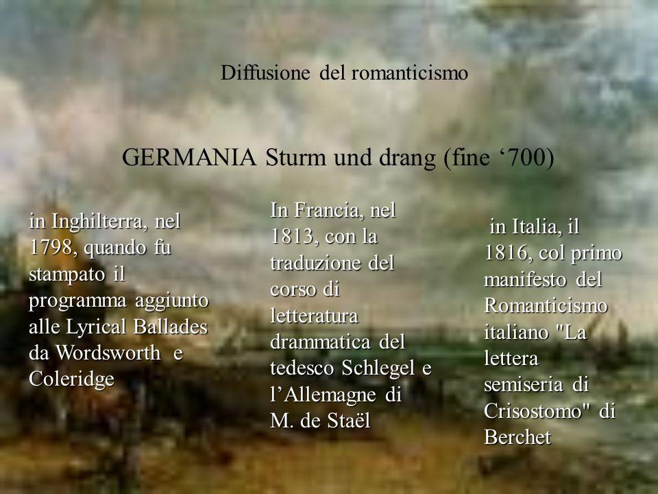Diffusione del romanticismo GERMANIA Sturm und drang (fine 700) in Italia, il 1816, col primo manifesto del Romanticismo italiano