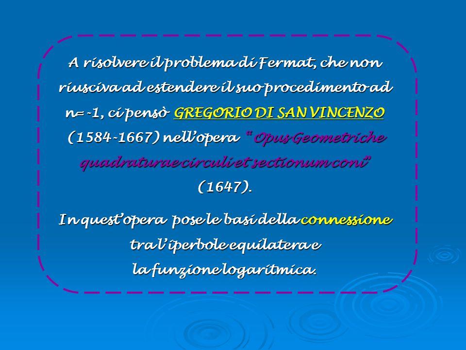A risolvere il problema di Fermat, che non riusciva ad estendere il suo procedimento ad n=-1, ci pensò GREGORIO DI SAN VINCENZO (1584-1667) nellopera