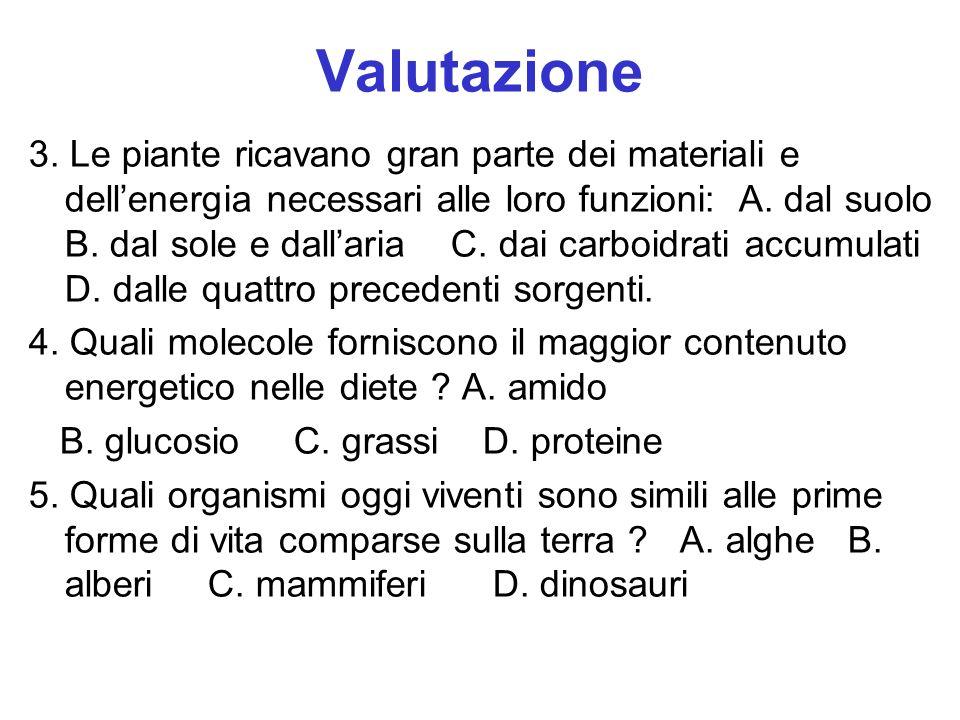 Valutazione 3. Le piante ricavano gran parte dei materiali e dellenergia necessari alle loro funzioni: A. dal suolo B. dal sole e dallaria C. dai carb
