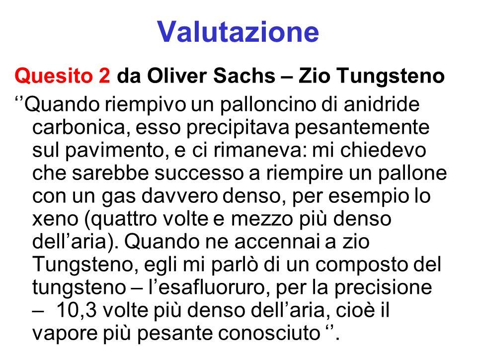 Valutazione Quesito 2 da Oliver Sachs – Zio Tungsteno Quando riempivo un palloncino di anidride carbonica, esso precipitava pesantemente sul pavimento