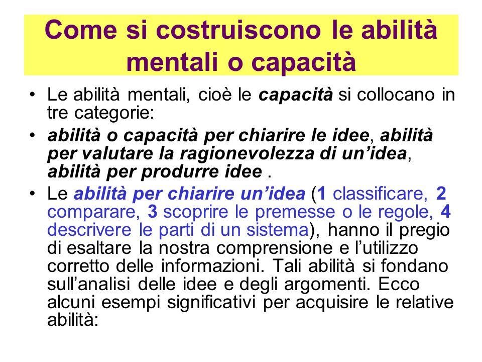 Come si costruiscono le abilità mentali o capacità Le abilità mentali, cioè le capacità si collocano in tre categorie: abilità o capacità per chiarire