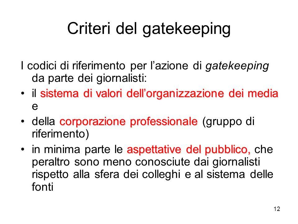 12 Criteri del gatekeeping I codici di riferimento per lazione di gatekeeping da parte dei giornalisti: sistema di valori dellorganizzazione dei media