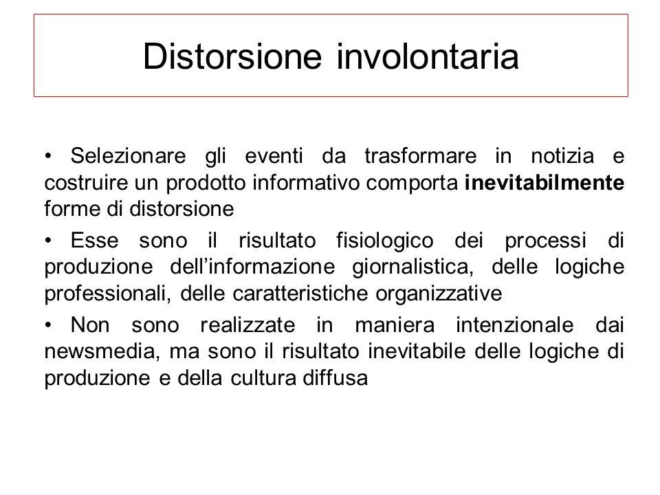 Distorsione involontaria Selezionare gli eventi da trasformare in notizia e costruire un prodotto informativo comporta inevitabilmente forme di distor
