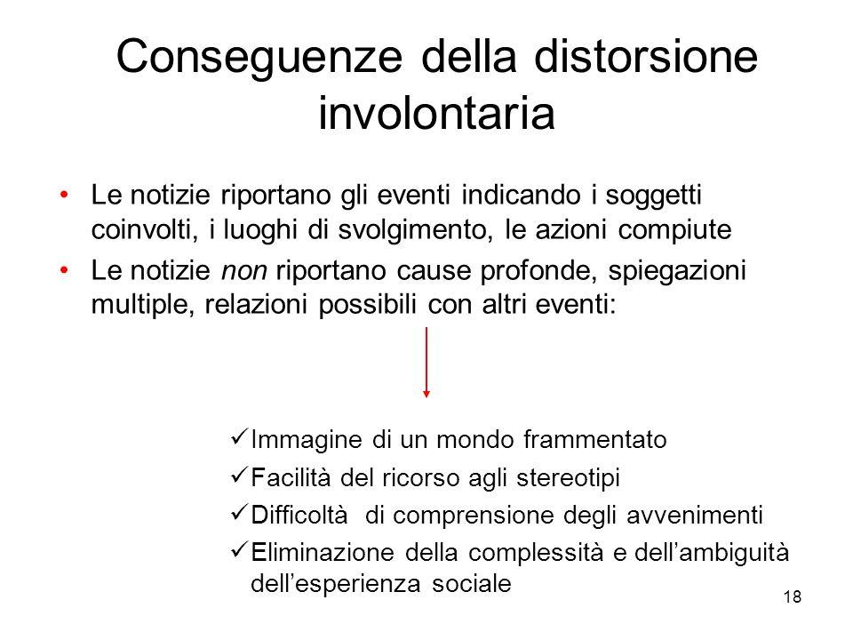 18 Conseguenze della distorsione involontaria Le notizie riportano gli eventi indicando i soggetti coinvolti, i luoghi di svolgimento, le azioni compi