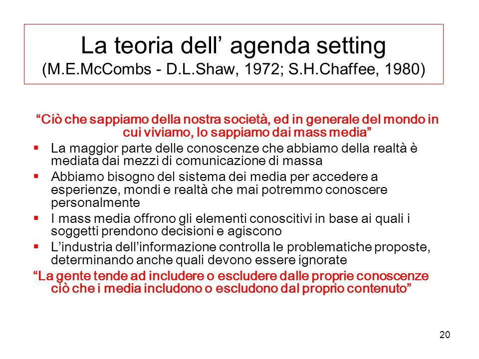 20 La teoria dell agenda setting (M.E.McCombs - D.L.Shaw, 1972; S.H.Chaffee, 1980) Ciò che sappiamo della nostra società, ed in generale del mondo in