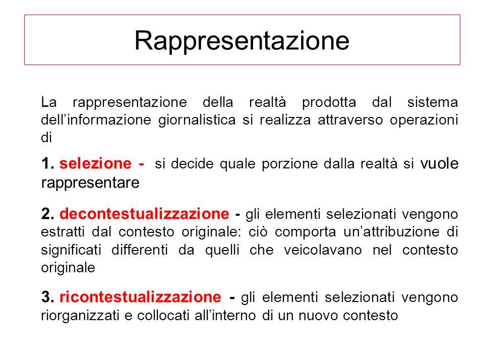 Rappresentazione La rappresentazione della realtà prodotta dal sistema dellinformazione giornalistica si realizza attraverso operazioni di 1. selezion