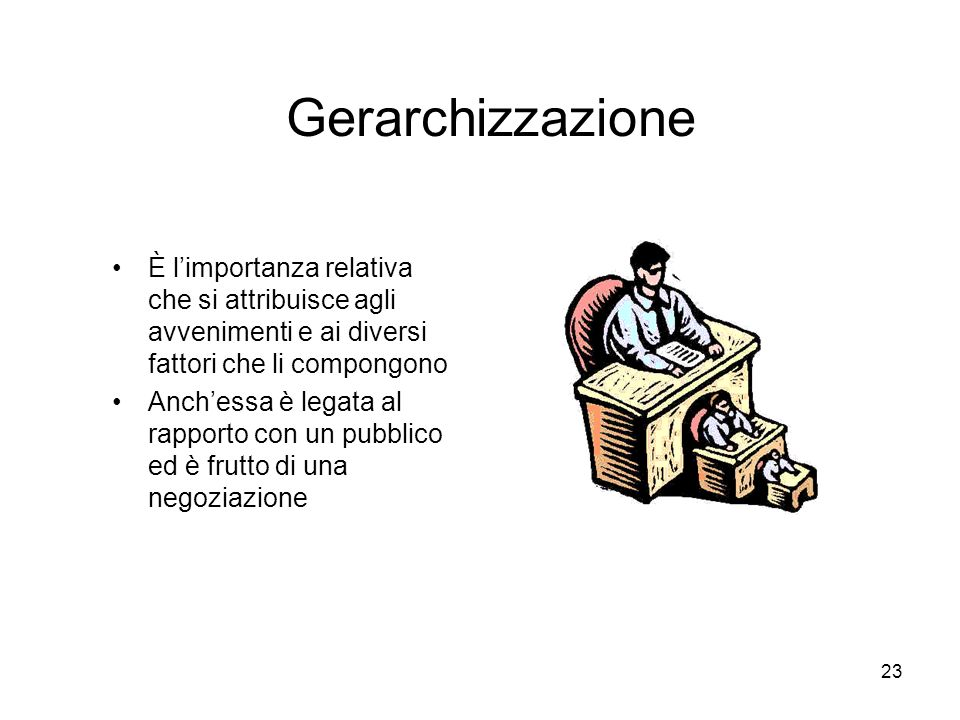 23 Gerarchizzazione È limportanza relativa che si attribuisce agli avvenimenti e ai diversi fattori che li compongono Anchessa è legata al rapporto co