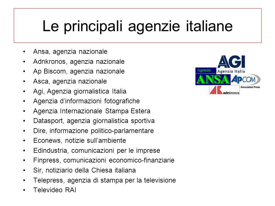 Le principali agenzie italiane Ansa, agenzia nazionale Adnkronos, agenzia nazionale Ap Biscom, agenzia nazionale Asca, agenzia nazionale Agi, Agenzia