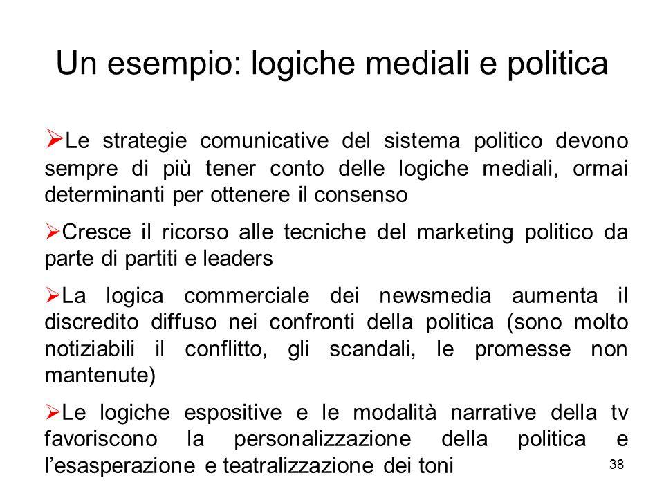 38 Un esempio: logiche mediali e politica Le strategie comunicative del sistema politico devono sempre di più tener conto delle logiche mediali, ormai