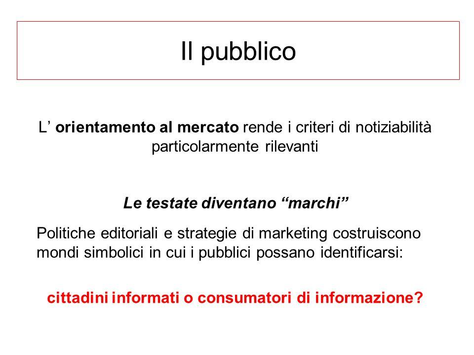 Il pubblico L orientamento al mercato rende i criteri di notiziabilità particolarmente rilevanti Le testate diventano marchi Politiche editoriali e st
