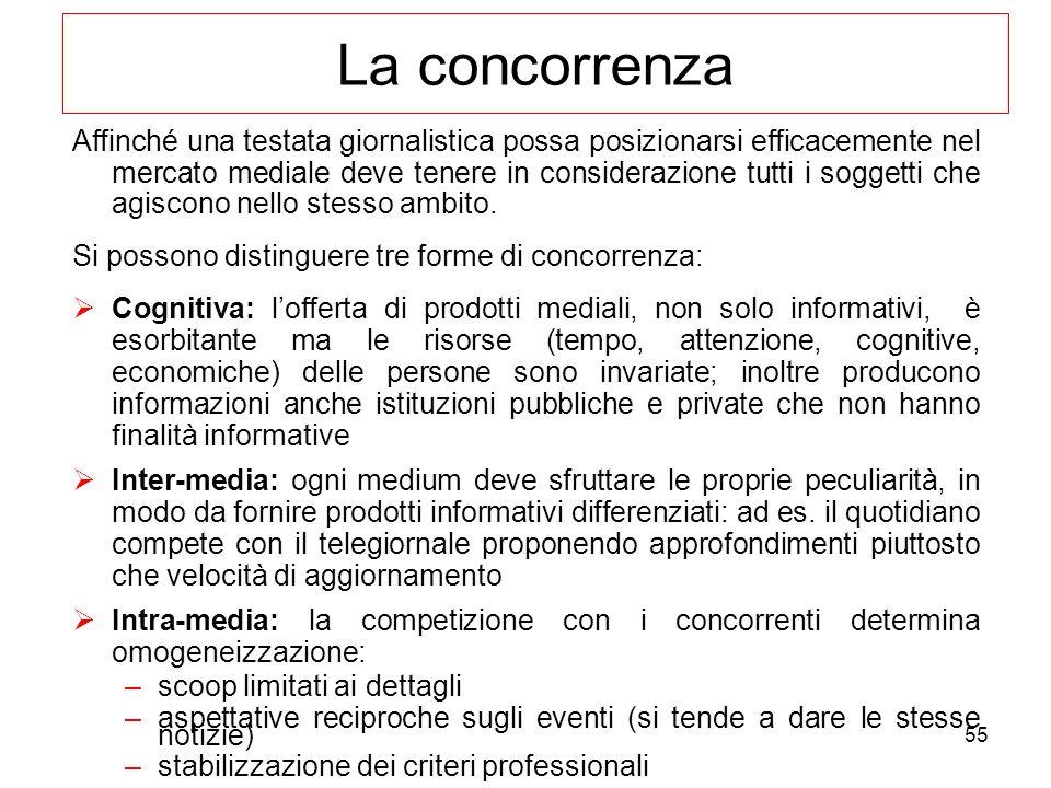 55 La concorrenza Affinché una testata giornalistica possa posizionarsi efficacemente nel mercato mediale deve tenere in considerazione tutti i sogget