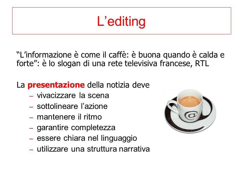Lediting Linformazione è come il caffè: è buona quando è calda e forte: è lo slogan di una rete televisiva francese, RTL La presentazione della notizi