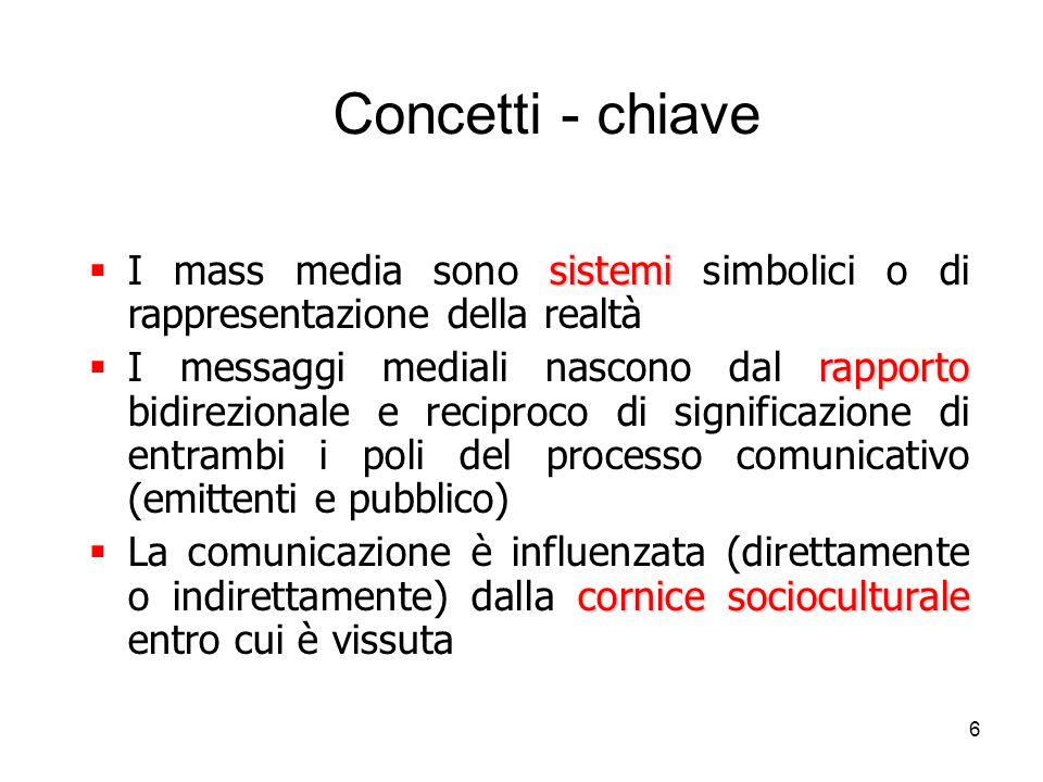 6 Concetti - chiave sistemi I mass media sono sistemi simbolici o di rappresentazione della realtà rapporto I messaggi mediali nascono dal rapporto bi