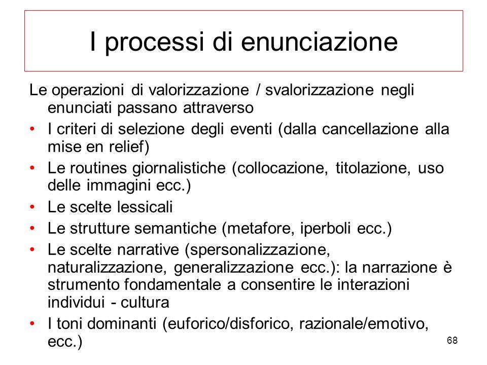68 I processi di enunciazione Le operazioni di valorizzazione / svalorizzazione negli enunciati passano attraverso I criteri di selezione degli eventi