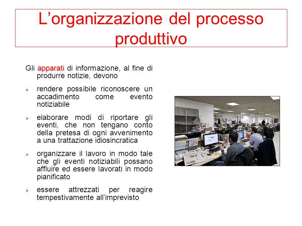Lorganizzazione del processo produttivo apparati Gli apparati di informazione, al fine di produrre notizie, devono rendere possibile riconoscere un ac