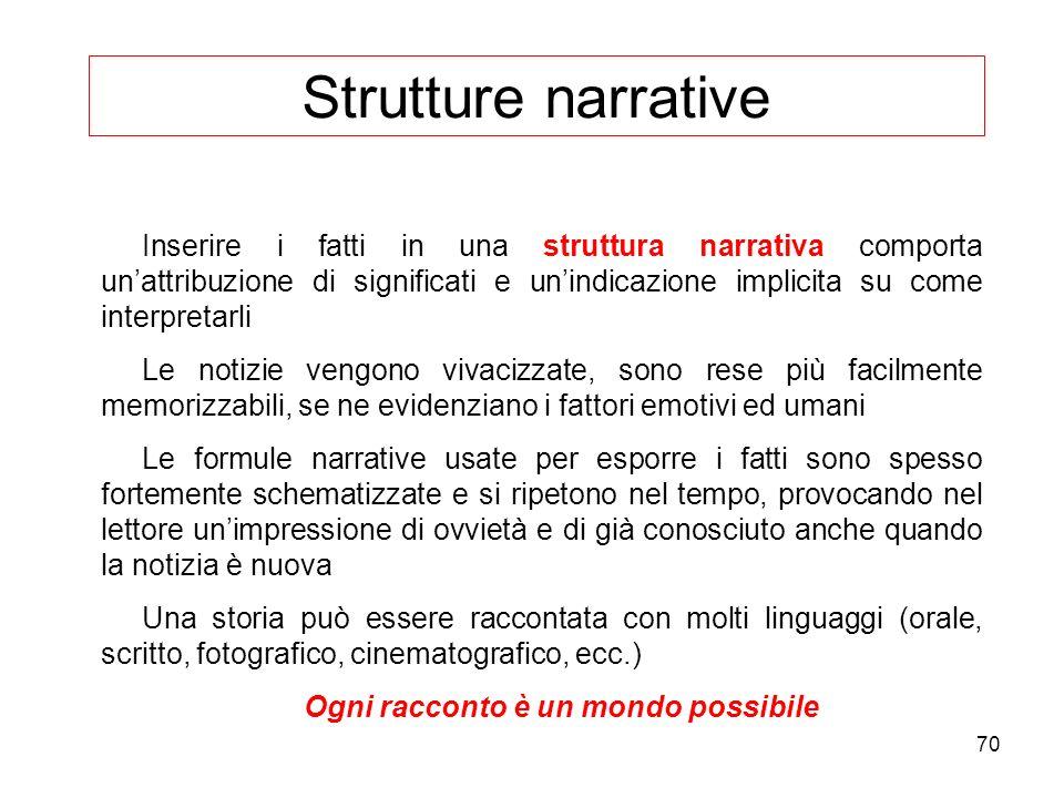 70 Strutture narrative Inserire i fatti in una struttura narrativa comporta unattribuzione di significati e unindicazione implicita su come interpreta