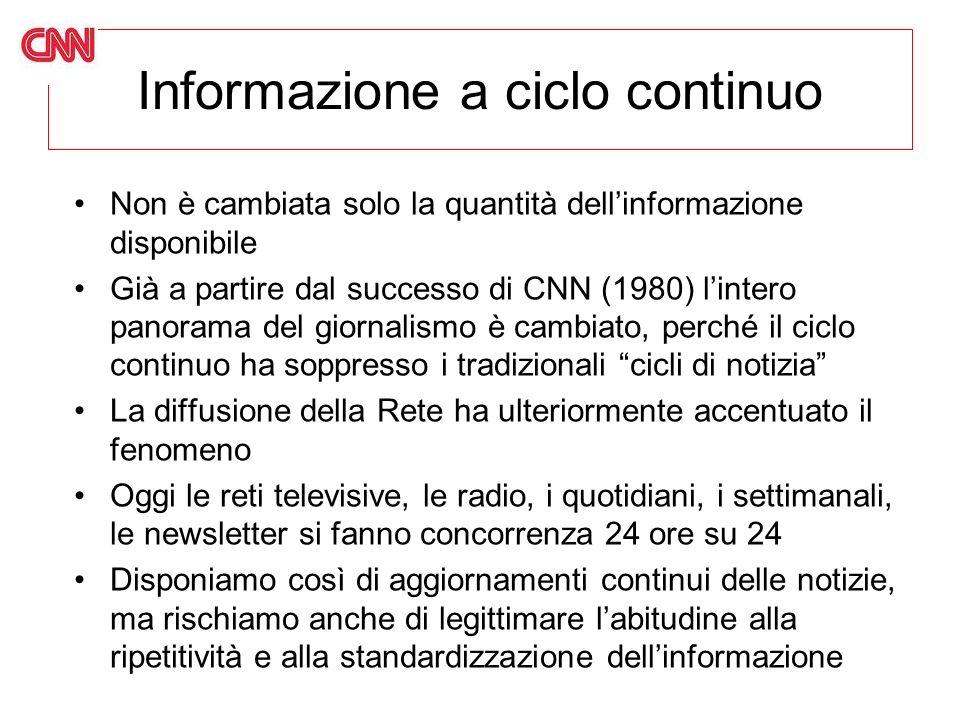 Informazione a ciclo continuo Non è cambiata solo la quantità dellinformazione disponibile Già a partire dal successo di CNN (1980) lintero panorama d