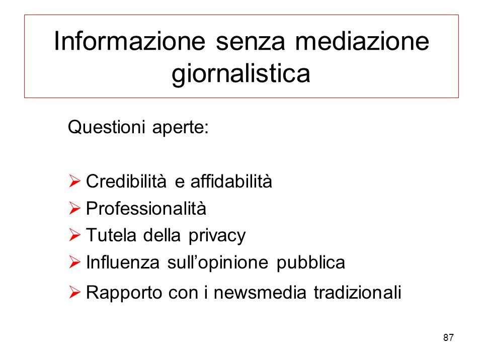 87 Informazione senza mediazione giornalistica Questioni aperte: Credibilità e affidabilità Professionalità Tutela della privacy Influenza sullopinion