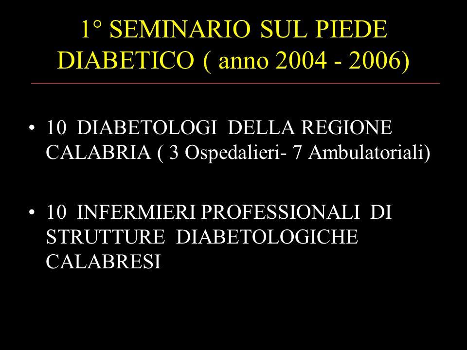 1° SEMINARIO SUL PIEDE DIABETICO ( anno 2004 - 2006) 10 DIABETOLOGI DELLA REGIONE CALABRIA ( 3 Ospedalieri- 7 Ambulatoriali) 10 INFERMIERI PROFESSIONA