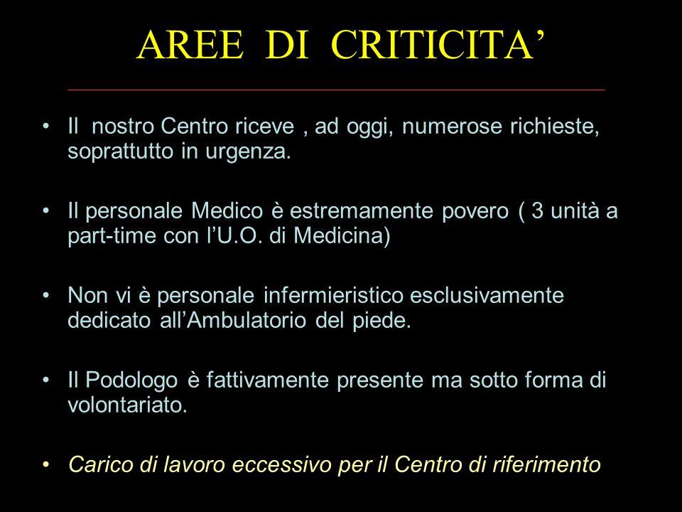 AREE DI CRITICITA Il nostro Centro riceve, ad oggi, numerose richieste, soprattutto in urgenza. Il personale Medico è estremamente povero ( 3 unità a