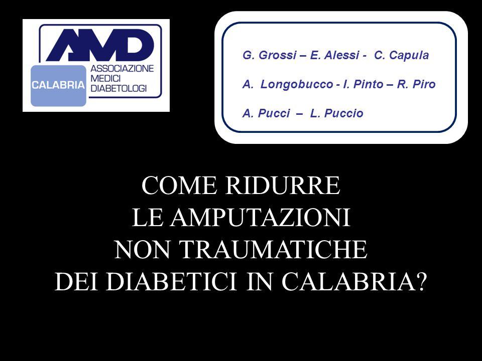 COME RIDURRE LE AMPUTAZIONI NON TRAUMATICHE DEI DIABETICI IN CALABRIA? G G. Grossi – E. Alessi - C. Capula A.Longobucco - I. Pinto – R. Piro A. Pucci