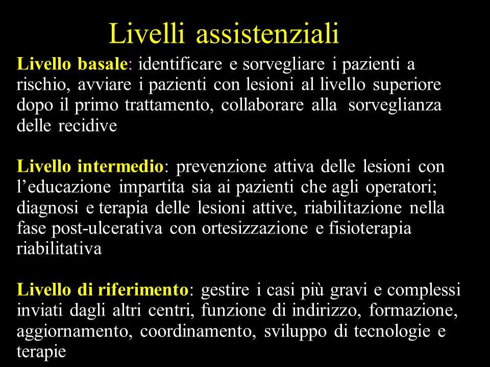 Livelli assistenziali Livello basale: identificare e sorvegliare i pazienti a rischio, avviare i pazienti con lesioni al livello superiore dopo il pri