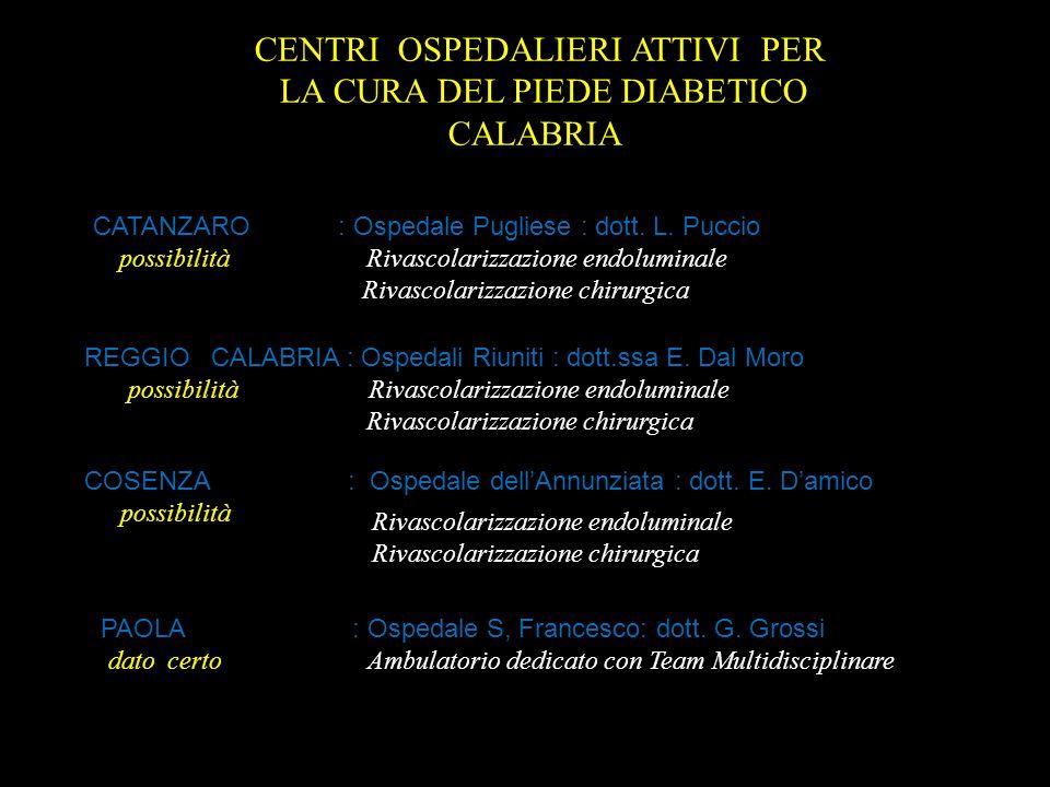 CENTRI OSPEDALIERI ATTIVI PER LA CURA DEL PIEDE DIABETICO CALABRIA CATANZARO : Ospedale Pugliese : dott. L. Puccio possibilità Rivascolarizzazione end