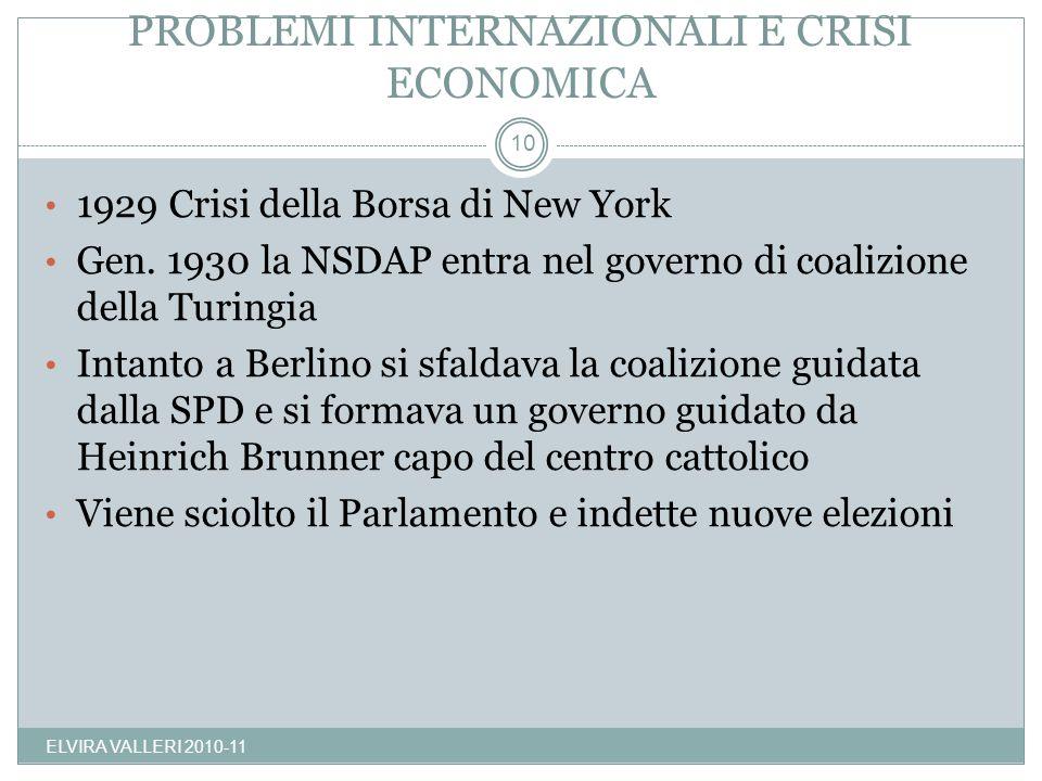 PROBLEMI INTERNAZIONALI E CRISI ECONOMICA ELVIRA VALLERI 2010-11 10 1929 Crisi della Borsa di New York Gen. 1930 la NSDAP entra nel governo di coalizi