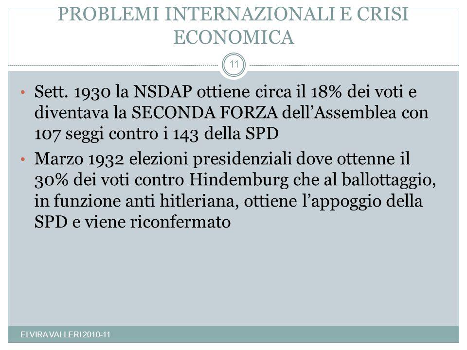 PROBLEMI INTERNAZIONALI E CRISI ECONOMICA ELVIRA VALLERI 2010-11 11 Sett. 1930 la NSDAP ottiene circa il 18% dei voti e diventava la SECONDA FORZA del